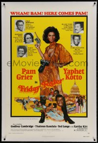 9h060 FRIDAY FOSTER linen 1sh 1976 artwork of sexiest Pam Grier with gun and camera!