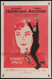 9h062 FUNNY FACE linen 1sh 1957 art of Audrey Hepburn close up & full-length + Fred Astaire!