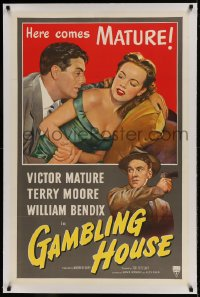9h063 GAMBLING HOUSE linen 1sh 1951 art of Victor Mature lusting after Terry Moore, William Bendix!