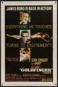 9h065 GOLDFINGER linen glossy finish 1sh 1964 three great images of Sean Connery as James Bond 007!