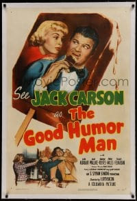 9h066 GOOD HUMOR MAN linen 1sh 1950 great image of Jack Carson eating ice cream bar & Lola Albright