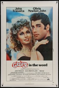 9h067 GREASE linen 1sh 1978 c/u of John Travolta & Olivia Newton-John in a most classic musical!