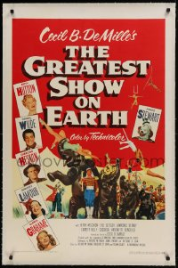9h069 GREATEST SHOW ON EARTH linen 1sh 1952 DeMille circus classic, Charlton Heston, James Stewart!