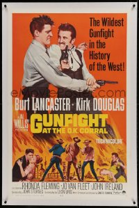 9h071 GUNFIGHT AT THE O.K. CORRAL linen 1sh R1964 Burt Lancaster & Kirk Douglas, John Sturges!