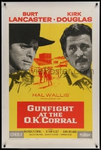 9h070 GUNFIGHT AT THE O.K. CORRAL linen 1sh 1957 Burt Lancaster, Kirk Douglas, directed by John Sturges!