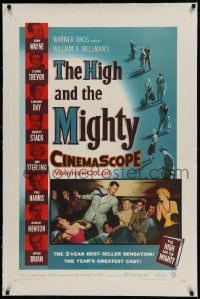 9h074 HIGH & THE MIGHTY linen 1sh 1954 John Wayne, Claire Trevor, directed by William Wellman!