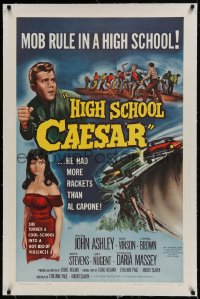 9h075 HIGH SCHOOL CAESAR linen 1sh 1960 teen gangster had more rackets than Al Capone, Daria Massey!