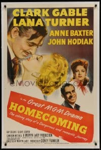 9h076 HOMECOMING linen 1sh 1948 close up art of Clark Gable & Lana Turner, Anne Baxter, John Hodiak