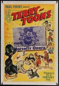 9h077 HORSEFLY OPERA linen 1sh 1941 Terry-Toons, great cartoon image insect cowboy with four guns!