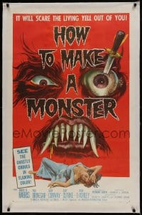 9h078 HOW TO MAKE A MONSTER linen 1sh 1958 ghastly ghouls, it will scare the living yell out of you!