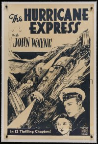 9h079 HURRICANE EXPRESS linen 1sh R30s art of young John Wayne, Shirley Grey & trains crashing!