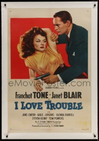 9h080 I LOVE TROUBLE linen 1sh 1947 great image of Franchot Tone holding gun & sexiest Janet Blair!