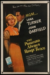 9h137 POSTMAN ALWAYS RINGS TWICE linen 1sh 1946 great close up of John Garfield & sexy Lana Turner!