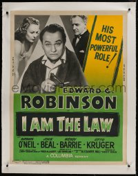 9j003 I AM THE LAW linen 30x40 R1955 Robinson turns fighting prosecutor & he's turning on the heat!