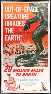 9j006 20 MILLION MILES TO EARTH signed linen 3sh 1957 by special effects master Ray Harryhausen!