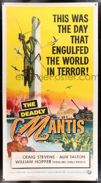 9j008 DEADLY MANTIS linen 3sh 1957 classic art of giant insect on Washington Monument by Ken Sawyer