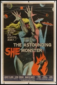 9j001 ASTOUNDING SHE MONSTER linen 40x60 1958 beautiful & deadly creature from the stars, rare!