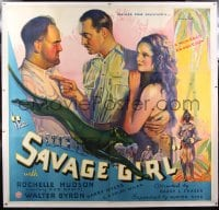 9j005 SAVAGE GIRL linen 6sh 1932 sexy African jungle native Rochelle Hudson is wanted by two men!