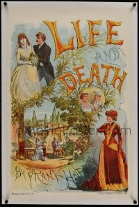 9j071 LIFE & DEATH linen stage play English double crown 1886 Frank Harvey, great stone litho art!