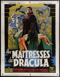 9j035 BRIDES OF DRACULA linen French 1p R1960s Terence Fisher, Hammer horror, Koutachy vampire art!