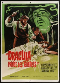 9j036 DRACULA PRINCE OF DARKNESS linen French 1p R1960s art of Christopher Lee + man driving stake!