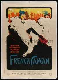 9j039 FRENCH CANCAN linen style B French 1p 1955 Jean Renoir, Gruau art of Moulin Rouge showgirls!