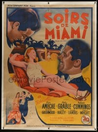 9j046 MOON OVER MIAMI linen French 1p 1946 Dastor art of Betty Grable, Don Ameche & Cummings, rare!