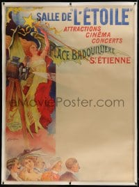 9j047 SALLE DE L'ETOILE linen French 1p 1902 Coulet art of audience, girl & early movie projector!