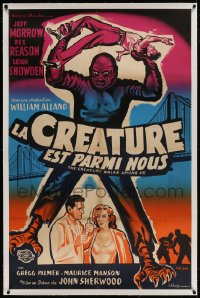 9j034 CREATURE WALKS AMONG US linen French 31x47 1959 great different art by Constantine Belinsky!