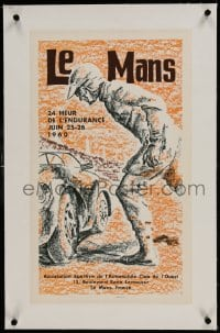 9j082 LE MANS 1960 linen French 14x23 1960 cool art for the Grand Prix of Endurance car race!