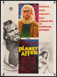 9j161 PLANET OF THE APES linen German 1968 Charlton Heston, Linda Harrison, Evans, different art!