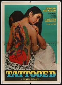 9j029 TATTOOED TEMPTRESS linen Italian 1p 1969 cool image of sexy girl with fully tattooed back!