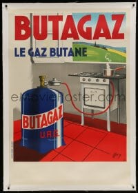 9j033 BUTAGAZ linen 32x47 French advertising poster 1946 Mory art of butane gas tank by stove!