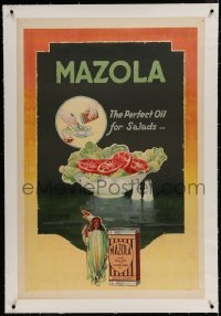 9j078 MAZOLA linen 28x42 advertising poster 1930s it makes the perfect oil to put on your salads!