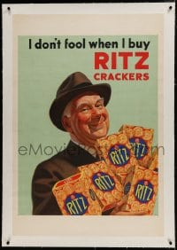 9j079 RITZ CRACKERS linen 28x42 advertising poster 1930s I don't fool when I buy them, great art!
