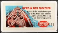 9j065 WE'RE IN THIS TOGETHER linen 28x54 motivational poster 1955 cool art of men rowing!
