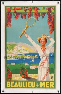 9j060 BEAULIEU S MER linen 24x39 French travel poster 1930 Viano art of woman with tennis racket!