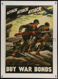 9j058 ATTACK ATTACK ATTACK linen 28x40 WWII war poster 1942 cool Warren art of soldiers advancing!