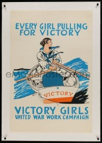 9j055 EVERY GIRL PULLING FOR VICTORY linen 23x35 WWI war poster 1918 Penfield art of female sailor!