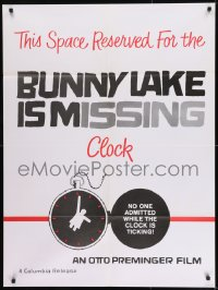 9k067 BUNNY LAKE IS MISSING special 30x40 1965 cool Saul Bass countdown clock art, ultra rare!