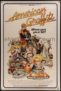 9k010 AMERICAN GRAFFITI 40x60 1973 George Lucas teen classic, wacky Mort Drucker artwork of cast!
