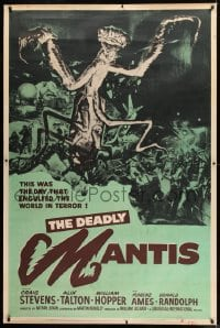 9k011 DEADLY MANTIS 40x60 1957 wonderful sci-fi art of giant insect attacked by giant army!