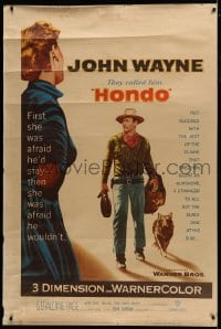 9k013 HONDO 3D style Y 40x60 1953 John Wayne was stranger to all but the surly dog at his side, rare