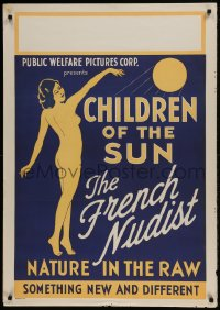 9k071 CHILDREN OF THE SUN 1sh 1934 art of French Nudist, nature in the raw, new & different!