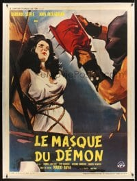 9k004 BLACK SUNDAY French 1p 1961 Mario Bava, different art of executioner with demon mask & woman!