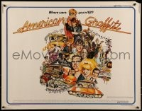 9k056 AMERICAN GRAFFITI 1/2sh 1973 George Lucas teen classic, wacky Mort Drucker artwork of cast!