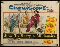 9k058 HOW TO MARRY A MILLIONAIRE 1/2sh 1953 sexy Marilyn Monroe, Betty Grable & Lauren Bacall!