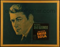 9k028 LIFE OF EMILE ZOLA 1/2sh 1937 head & shoulders art of Paul Muni completely out of makeup!