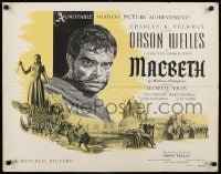 9k060 MACBETH style A 1/2sh 1948 art of Orson Welles, Jeanette Nolan, Shakespeare, rare!