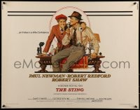 9k062 STING 1/2sh 1974 best artwork of con men Paul Newman & Robert Redford by Richard Amsel!
